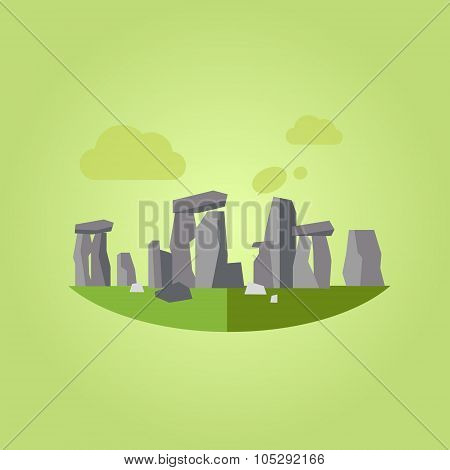 Stonehenge Vector Illustration in Flat Style