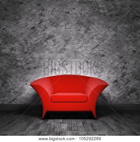 Interior With Red Armchair 3d rendering