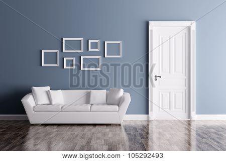 Interior With Door And Sofa 3d rendering