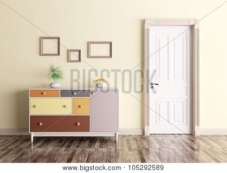 Interior With Door And Chest Of Drawers 3d rendering
