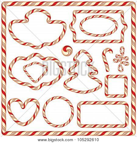 Set Of Candy Frames And Borders, Elements For Winter Holidays Design, Isolated On White Background.