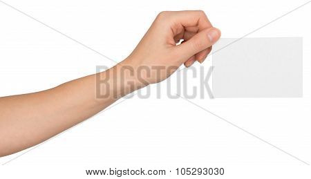 Womans left hand with blank paper