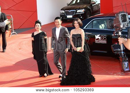 VENICE, ITALY - SEPTEMBER 05: Deannie Yip and Andy Lau with  Qin Hailu  attends the 'Tao Jie' premiere at the Palazzo del Cinema during the 68th Venice  Festival on September 5, 2011 in Venice, Italy