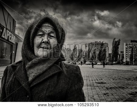 Elderly Russian Woman And The Windy Storm