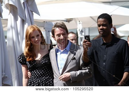 CANNES, FRANCE - MAY 17: Chris Rock and Martin Short and Jessica Chastain attends the 'Madagascar 3' cannes photocall during the 65th  Cannes Film Festival on May 17, 2012 in Cannes, France.