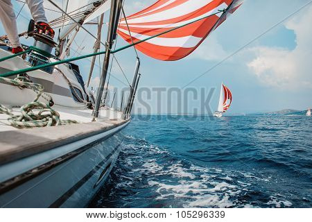 yacht fights with an opponent in the sea
