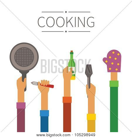Raised Hands With Kitchenware Vector Concept In Flat Style
