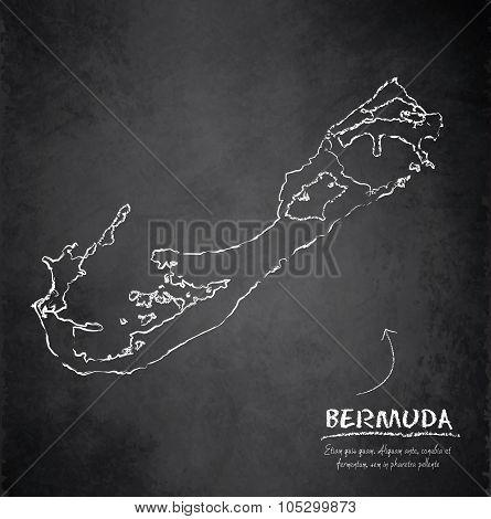 Bermuda island map blackboard chalkboard vector