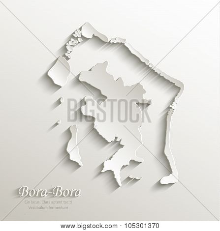 Bora-Bora map card paper 3D natural vector french polynesia