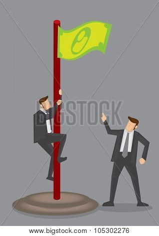 Business Executive Climbs Up Money Flag Vector Illustration