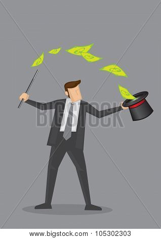 Businessman Money Magic Trick Vector Illustration