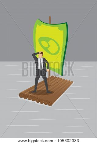 Businessman On Raft With Money Sail Vector Illustration