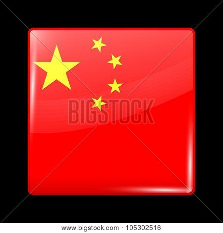 Flag Of China. Glassy Icon Square Shape