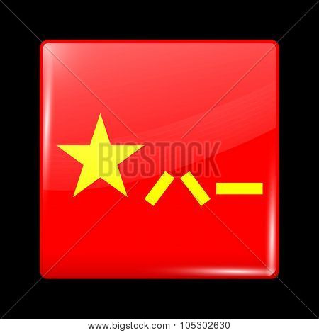 China Variant Flag. Glassy Icon Square Shape