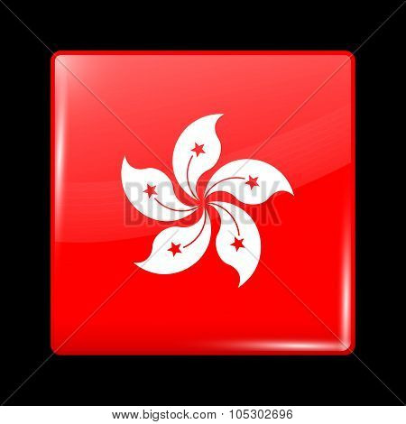 China Flag Of Hong Kong. Glassy Icon Square Shape