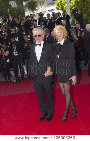 CANNES, FRANCE - MAY 25: Steven Spielberg arrives at 'Venus In Fur' Premiere during the 66th Annual Cannes Film Festival at Grand Theatre Lumiere on May 25, 2013 in Cannes, France.