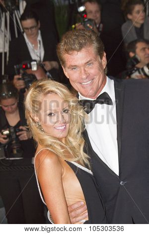 CANNES, FRANCE - MAY 15:   Hayley Roberts and David Hasselhoff attend 'The Great Gatsby' Premiere during the 66th Annual Cannes Film Festival at the Theatre Lumiere on May 15, 2013 in Cannes, France.