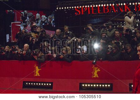 BERLIN, GERMANY - FEBRUARY 12: Photographers attend  attends 'Aloft' premiere during 64th Berlinale Festival at Berlinale Palast on February 12, 2014 in Berlin, Germany.