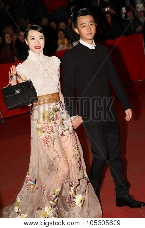 BERLIN, GERMANY - FEBRUARY 15: Lu Huang,  Xuan Huang arrive for the closing ceremony during 64th Berlinale  Festival at Berlinale Palast on February 15, 2014 in Berlin, Germany.