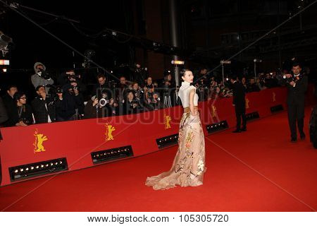 BERLIN, GERMANY - FEBRUARY 15: Lu Huang arrives for the closing ceremony during 64th Berlinale  Festival at Berlinale Palast on February 15, 2014 in Berlin, Germany.