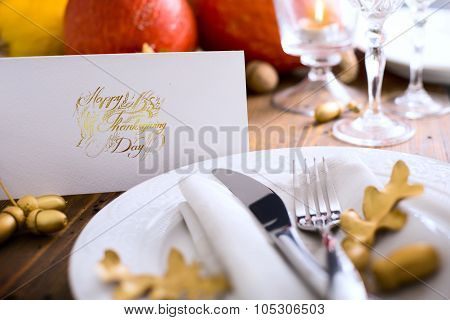 Art Happy Thanksgiving Dinner; Autumn Table Setting With Pumpkins