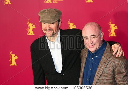 BERLIN - FEBRUARY 13: Actor Bob Hoskins arrives at the 'Beyond The Sea' Photocall  at the Grand Hyatt during the 55th annual Berlinale Film Festival on February 13, 2005 in Berlin, Germany