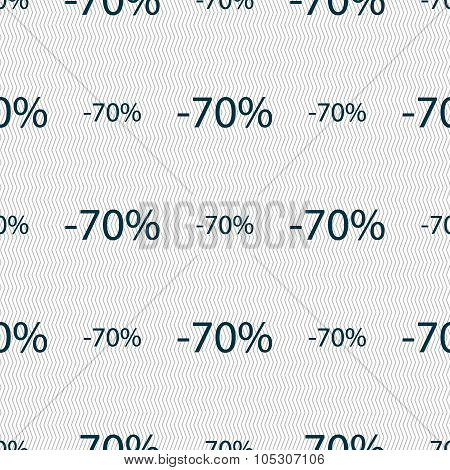 70 Percent Discount Sign Icon. Sale Symbol. Special Offer Label. Seamless Abstract Background With