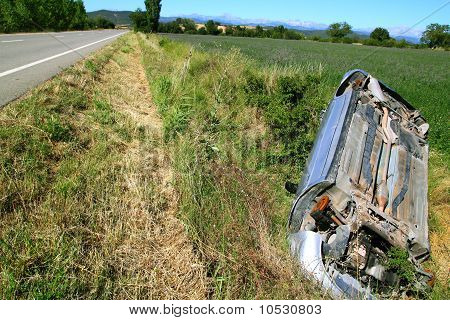 Car Crash Accident Upside Down Vehicle