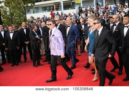 CANNES, FRANCE - MAY 18:  Mel Gibson, Jason Statham, Sylvester Stallone attend 'The Expendables 3' Premiere at the 67th Annual Cannes Film Festival on May 18, 2014 in Cannes, France.