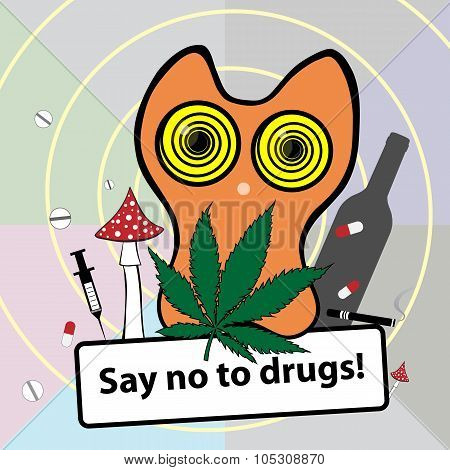 Social poster about narcotic dependence.