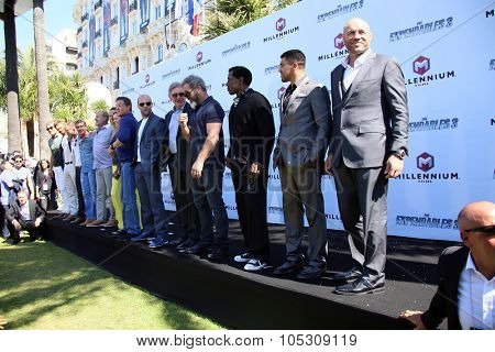 CANNES, FRANCE - MAY 18: Dolph Lundgren, Jason Statham, Harrison Ford, Mel Gibson, Sylvester Stallone attend a photocall for 'The Expendables 3' at the Carlton Hotel on May 18, 2014 in Cannes, France.