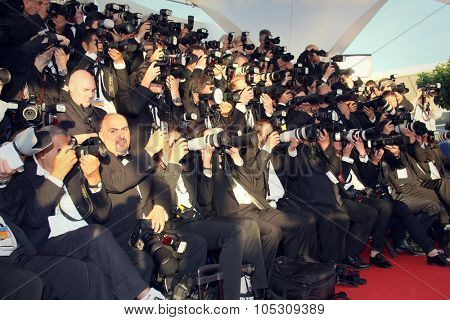 CANNES, FRANCE - MAY 24: Photographers attend the Closing Ceremony and 'A Fistful of Dollars' Screening during the 67th Annual Cannes Film Festival on May 24, 2014 in Cannes, France.