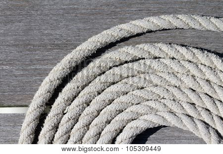 Coiled boat mooring rope