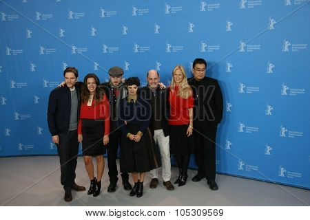 BERLIN, GERMANY - FEBRUARY 05: Daniel Bruehl, Darren Aronofsky, Audrey Tautou,   attend the Jury press conference  during the 65th Berlinale at Grand Hyatt Hotel on February 5, 2015 in Berlin, Germany
