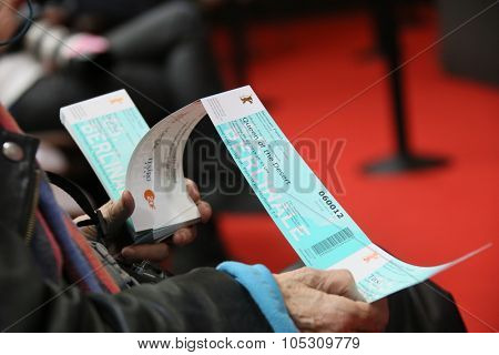 BERLIN, GERMANY - FEBRUARY 06:   A Berlinale movie ticket  attends the '45 Years'  press conference during the 65th Berlinale Film Festival at Grand Hyatt Hotel on February 6, 2015 in Berlin, Germany