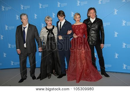 BERLIN, GERMANY - FEBRUARY 08: Brian Wilson, Elizabeth Banks, Paul Dano attend the 'Love & Mercy' photocall during the 65th Berlinale Festival at Hyatt Hotel on February 8, 2015 in Berlin, Germany.