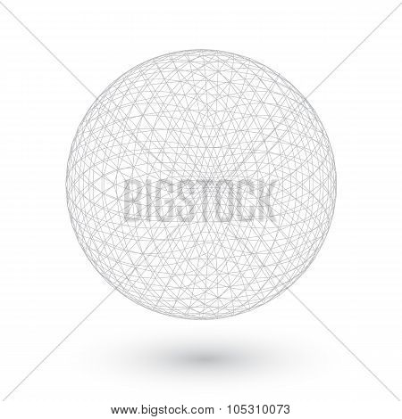 Vector Connection Spirograph Wired Ball Isolated on White Backgr