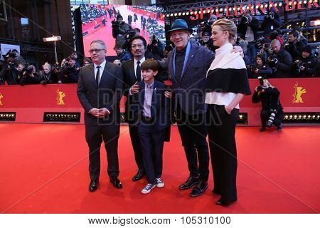 BERLIN, GERMANY - FEBRUARY 08: Milo Parker,  Laura Linney, Ian McKellen attend the 'Mr. Holmes' premiere during the 65th Film Festival at Berlinale Palace on February 8, 2015 in Berlin, Germany.