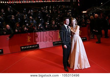 BERLIN, GERMANY - FEBRUARY 13: Lily James, Richard Madden attends the 'Cinderella' premiere during the 65th Berlinale Film Festival at Berlinale Palace on February 13, 2015 in Berlin, Germany.