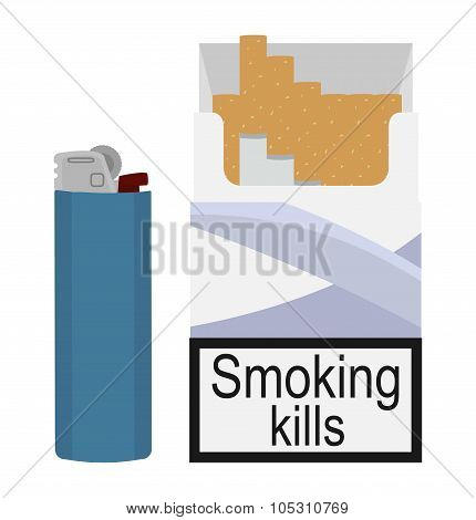 Open cigarettes pack with gas lighter