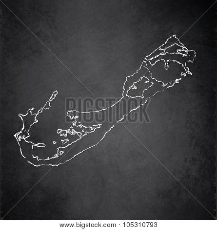 Bermuda map blackboard chalkboard raster