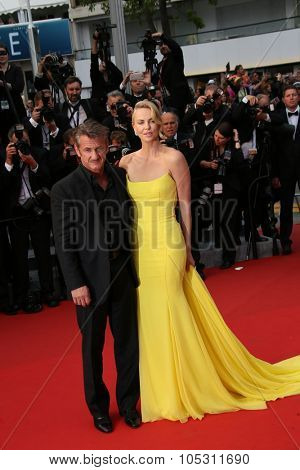 Charlize Theron, Sean Penn attend the 'Mad Max : Fury Road' Premiere during the 68th annual Cannes Film Festival on May 14, 2015 in Cannes, France.