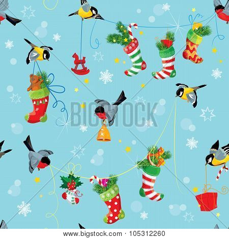 X-mas And New Year Background With Birds Holding Christmas Stockings, Gifts And Presents. Seamless P