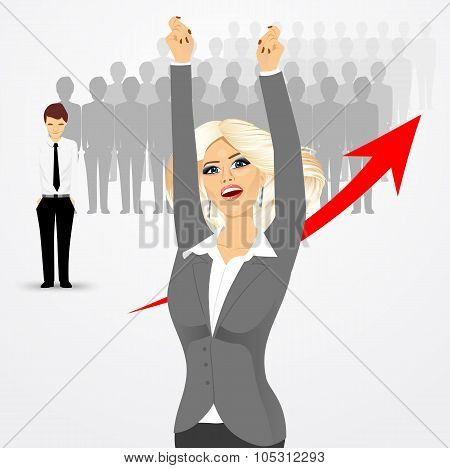 young beautiful business woman cheering
