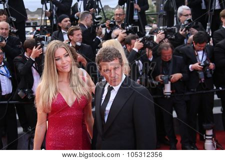 CANNES, FRANCE - MAY 19: Nicole Kempel and Antonio Banderas   attend the 'Sicario' premiere during the 68th annual Cannes Film Festival on May 19, 2015 in Cannes, France