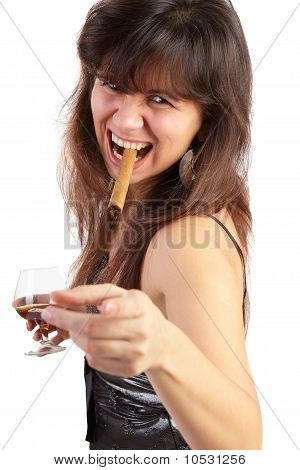 Portrait Of A Smoking Woman On A White Background