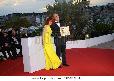 Cesar Augusto Acevedo, Sabine Azema  attend a photocall for the winners of the Palm D'Or during the 68th annual Cannes Film Festival on May 24, 2015 in Cannes, France.
