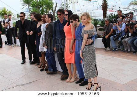 Sophie Marceau, Rossy de Palma, Ethan Coen, Joel Coen attend the Jury photocall during the 68th annual Cannes Film Festival on May 13, 2015 in Cannes, France.