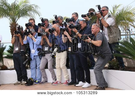 Photographers attend the 'La Tete Haute' ('Standing Tall') photocall during the 68th annual Cannes Film Festival on May 13, 2015 in Cannes, France.