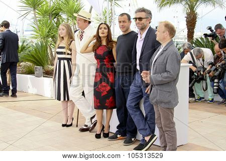 Matteo Garrone, Salma Hayek and Vincent Cassel attend the 'Il Racconto Dei Racconti' ('Tale of Tales') photocall during the 68th annual Cannes Film Festival on May 14, 2015 in Cannes, France.